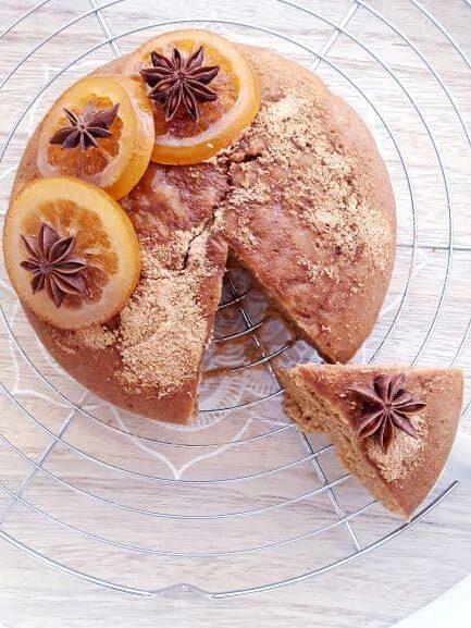 gâteau moelleux à l'orange vegan sans gluten